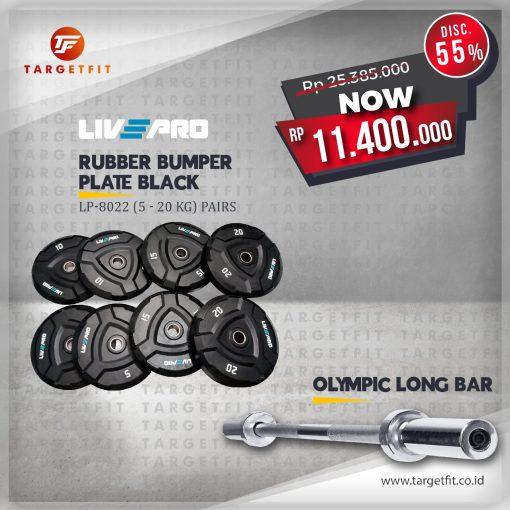 livepro black bumper and olympic long bar